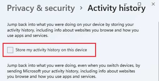 Store my activity history on this device