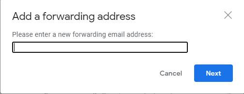 Add a forwarding address.