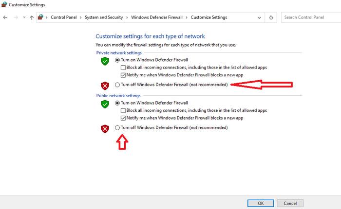 Turn Windows Firewall