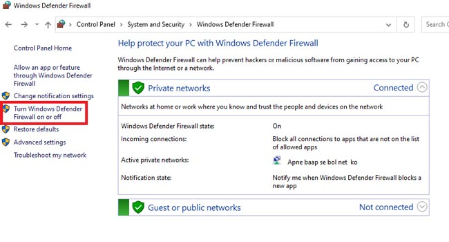 Turn Windows Firewall On or Off to fix if website is not opening